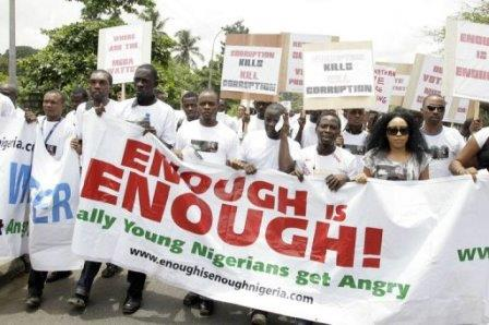 Young Nigerians protest pic