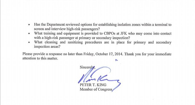 Peter King's letter to US department of homeland security about the Ebola part b