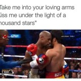 Mayweather hugging pacquiao Las Vegas fight image