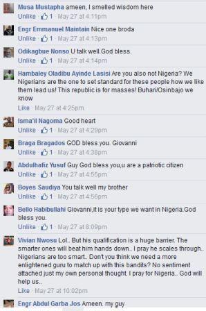 Giovanni OJC Olakunori comment on Sahara Reporters Facebook post replies